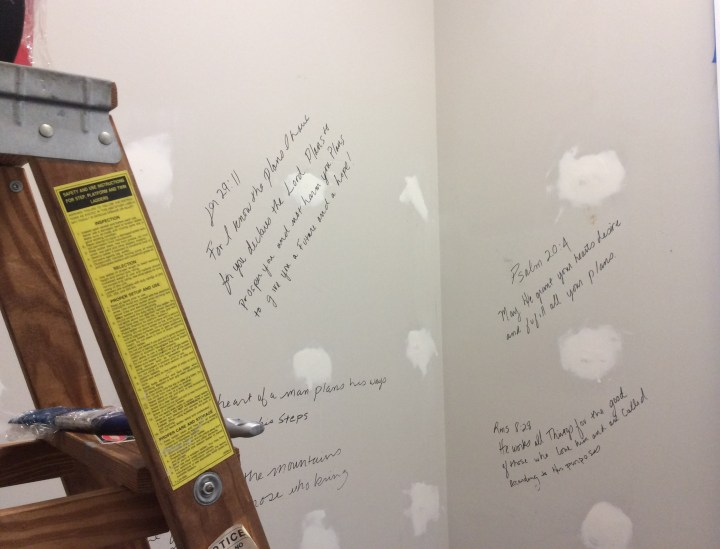 Spackling, sanding and writing