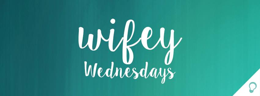 """Text overlay on a blue background reading """"Wifey Wednesdays"""" - a bible study for moms podcast"""