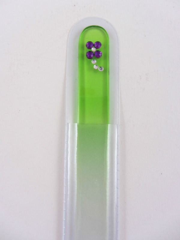 Coloured Glass Nail File Bling Diamonte Crystal Design
