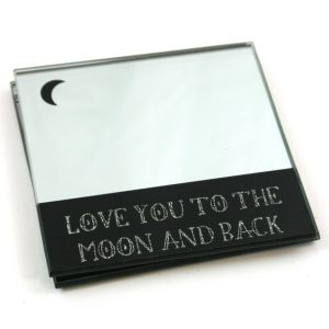 Mirrored Glass Love Message Coasters x 2
