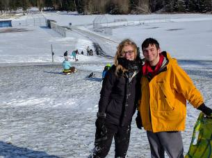 My son Jordan and his girlfriend sledding at Buck Park.