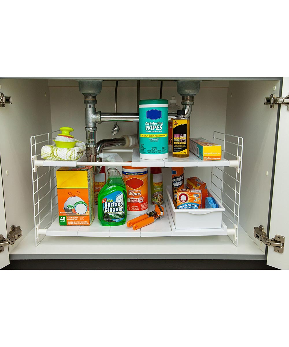expandable under sink organizer shelves with sliding drawer white