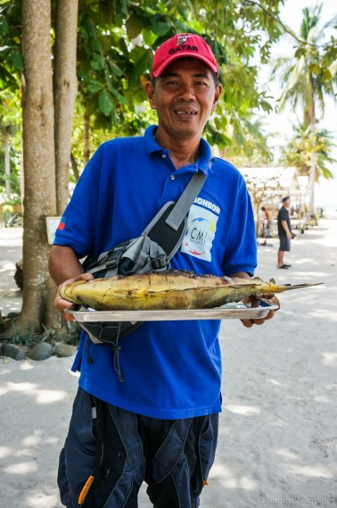 A fresh fish lunch on Pandan Island