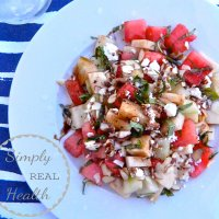 Jicama-Watermelon Salad with Mint, Feta + Balsamic