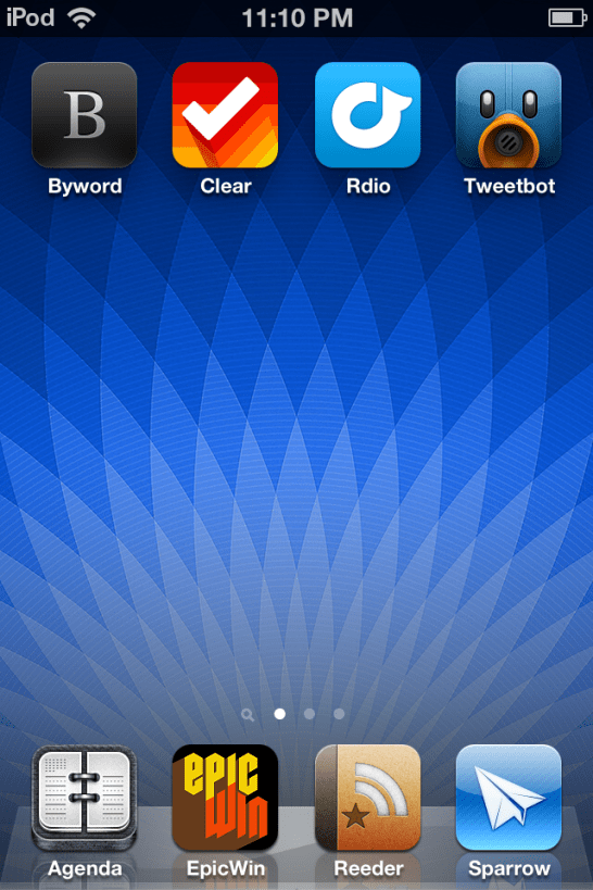 Here's a home screen with some apps.