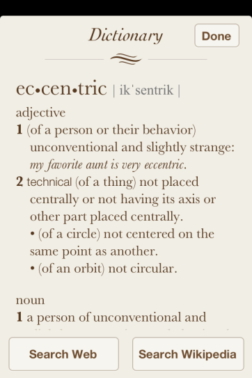 iBooks can define any word with the built in dictionary.
