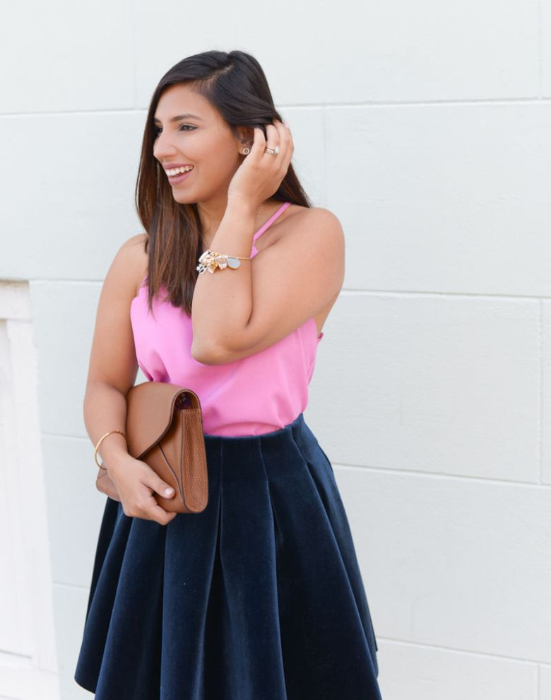 velvet skirt with pink camisole