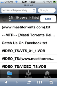 Screenshot of torrent downloading