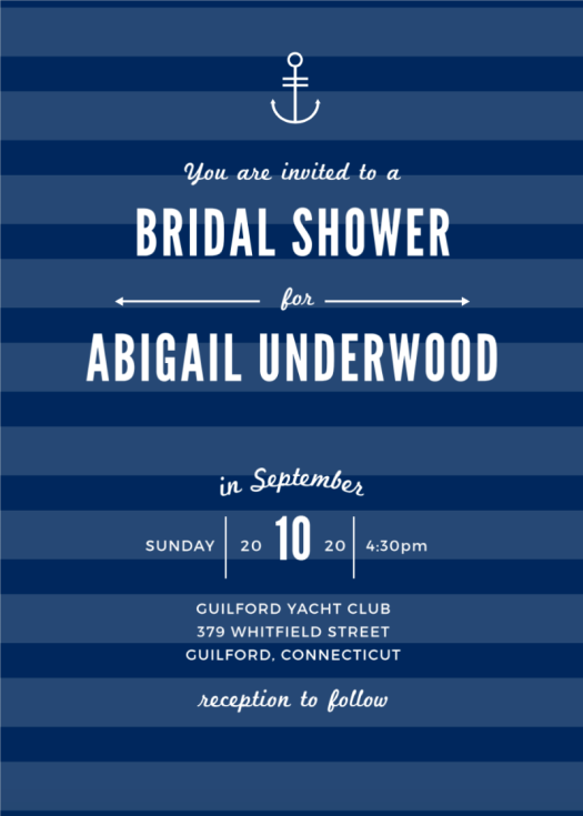 Bridal Shower Invitations Nautical