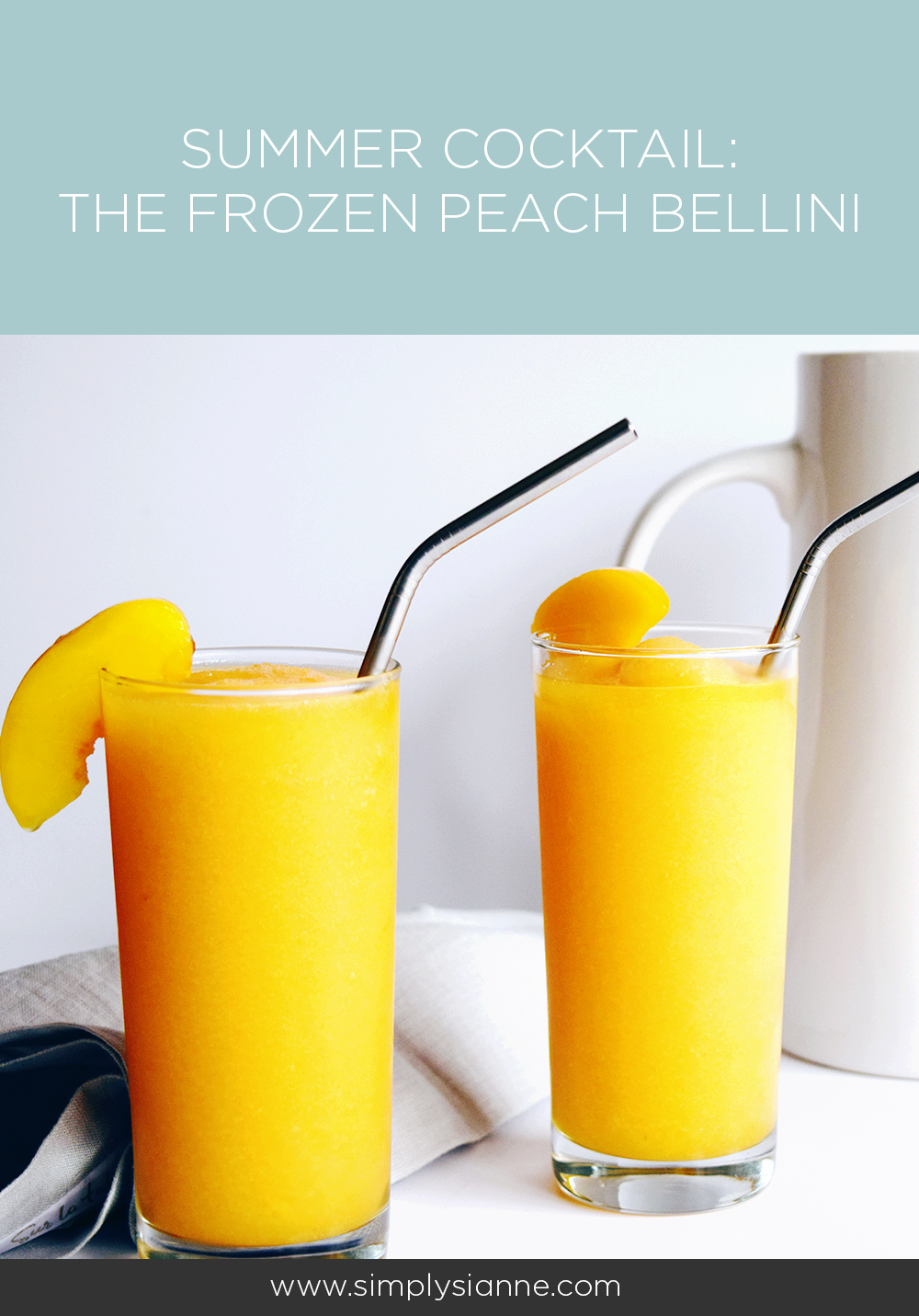 This frozen peach bellini cocktail is the perfect summer beverage!