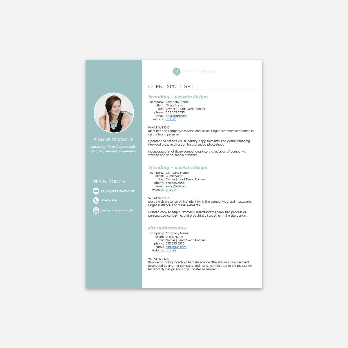 client reference sheet template simply sianne marketing brand