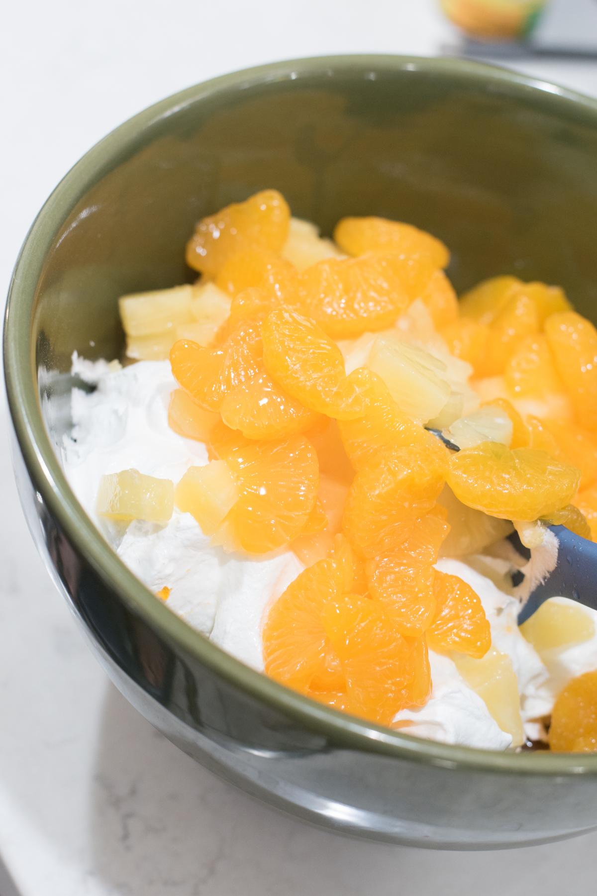 orange jello with mandarin oranges and pineapple