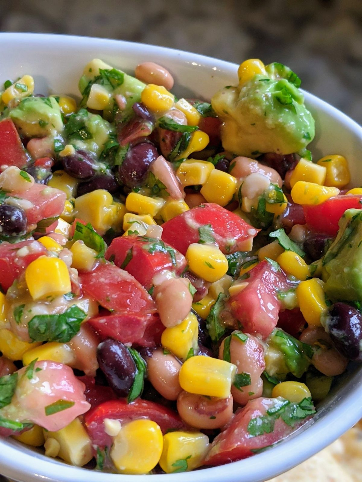 Closeup of avocado salad