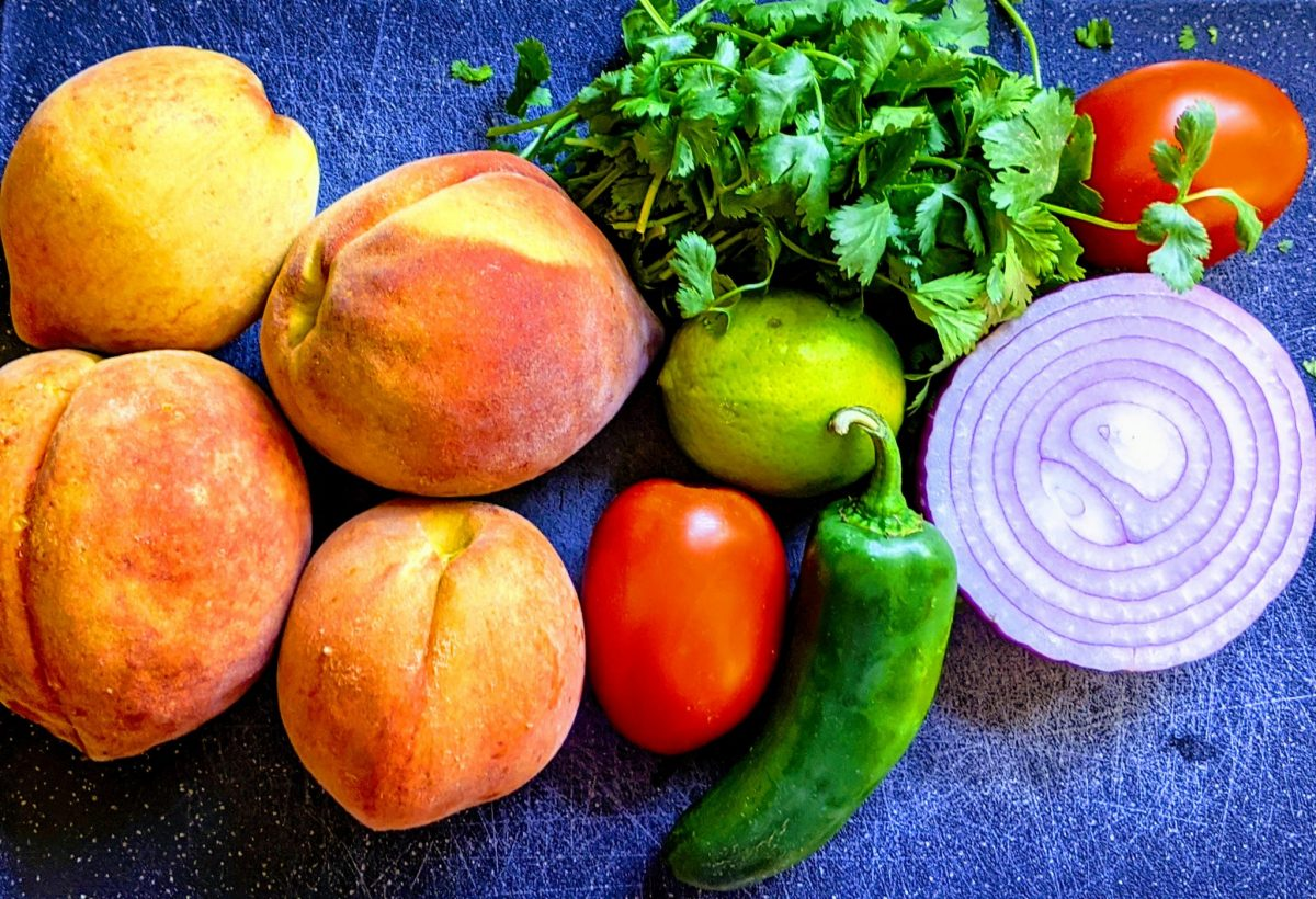 overview of peach salsa ingredients