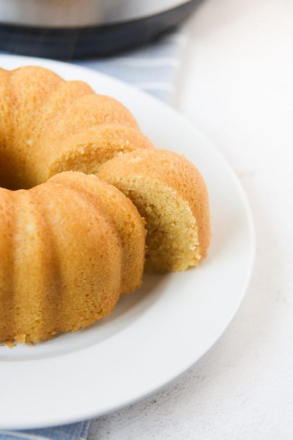 instant pot corn bread with slice of corn bread