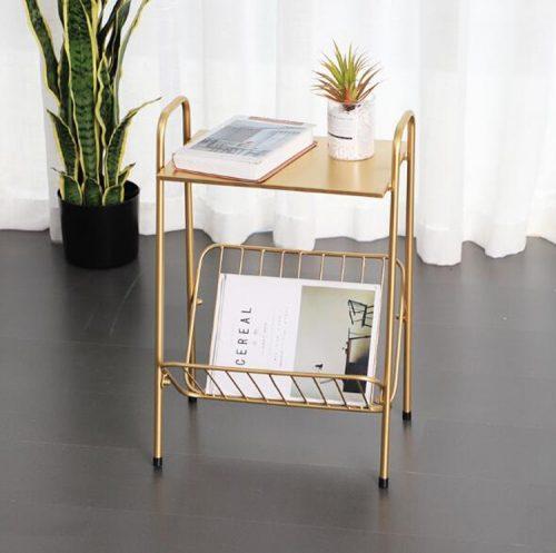 golden iron magazine table rack