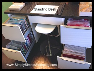 """My standing desk with 8 ½"""" x 11 AND 12 x 12 paper storage drawers - IKEA kitchen cabinets with a little conversion - www.SimplySimpleStamping.com"""