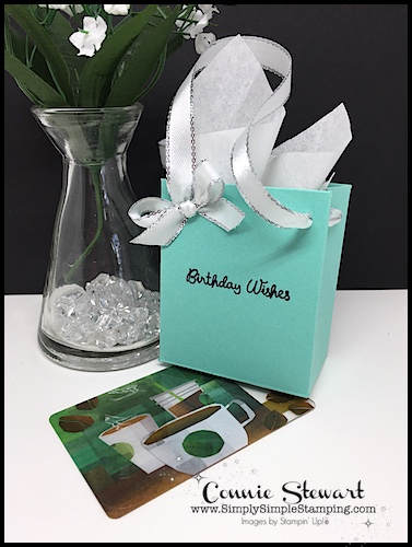 Tiffany & Co. Inspired Gift Bag - create 2 bags from 1 sheet of cardstock. See the video and diagrams to create this project at www.SimplySimpleStamping.com - look for the June 20, 2018 blog post.