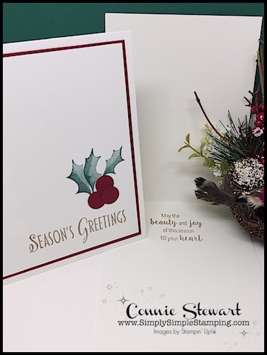 Learn to make this quick and easy holiday card with Connie Stewart, Simply Simple Stamping