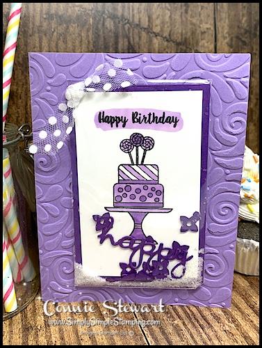 Easiest-Shaker-Card-Handmade-Birthday-Card-Cake-on-Purple-Card