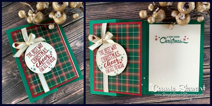 An easy 5 Minutes Fancy fold card with red and green plaid