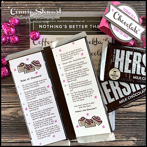 The 'Rules of Chocolate' fit perfectly on this chocolate gift idea.