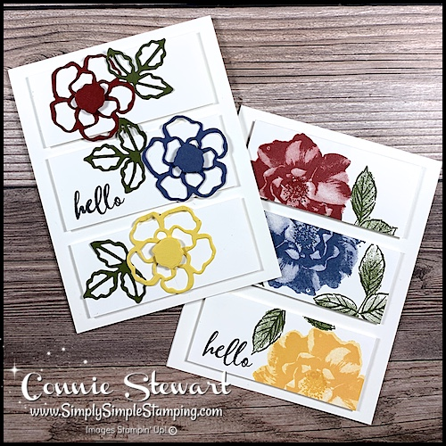 Whether you use die cuts or stamped images your 3 panel cards can look beautiful and fun.