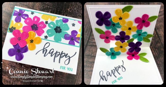 This bright pop up card idea will cheer anyone with all those flowers!
