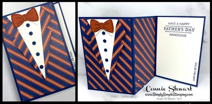 This 3 panel card is perfect for Father's Day with the bow tie and button down shirt.