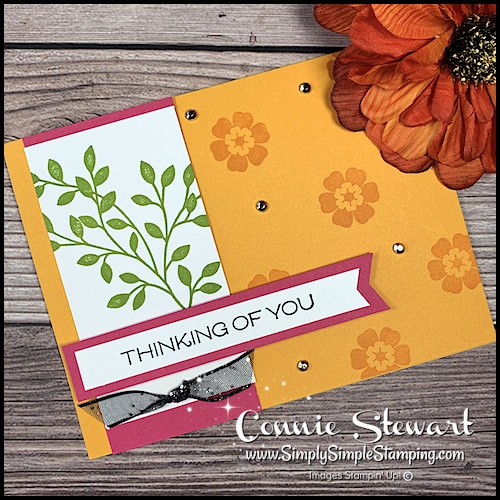 Here is a thinking of you card that has a stamped background