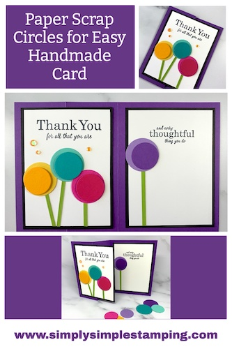 Take paper scraps in different cardstock colors to cut out your circle dies and then layer them on greeting cards