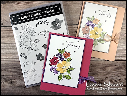 I can show you how to make easy greeting cards with the Stampin' Up! Hand-Penned Petals stamp set.