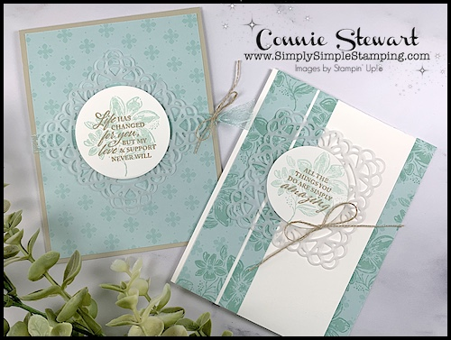 Make 2 easy cards with a soft touch using the square vellum doilies.