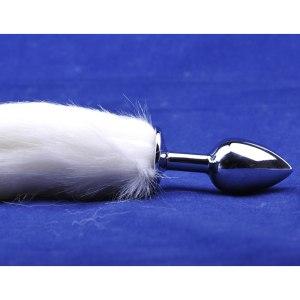 Metallic butt plug with white tail
