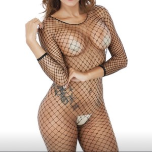 Crotchless black fishnet bodysuit