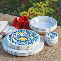 Kitchen Cups And Plates Modern Cabinets Online 16 Piece Indoor Outdoor Melamine Dinnerware Set Ivory