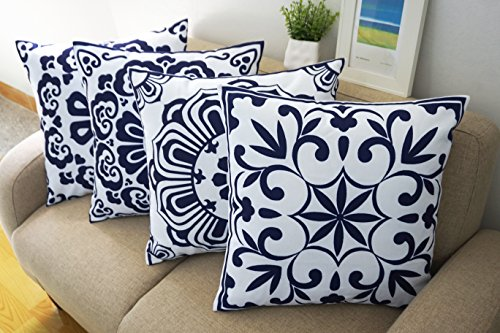 amazon accent chair covers hardwood floor protectors for chairs floral blue and white howarmer® cotton canvas decorative throw pillows cover set of 4 ...