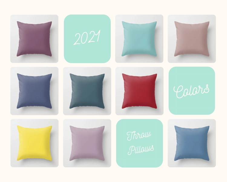 Beautiful shades of single, solid color inspired by the 2021 Color of the Years from 8 paint manufacturers and color experts from around the world on indoor throw pillows and outdoor patio pillows.
