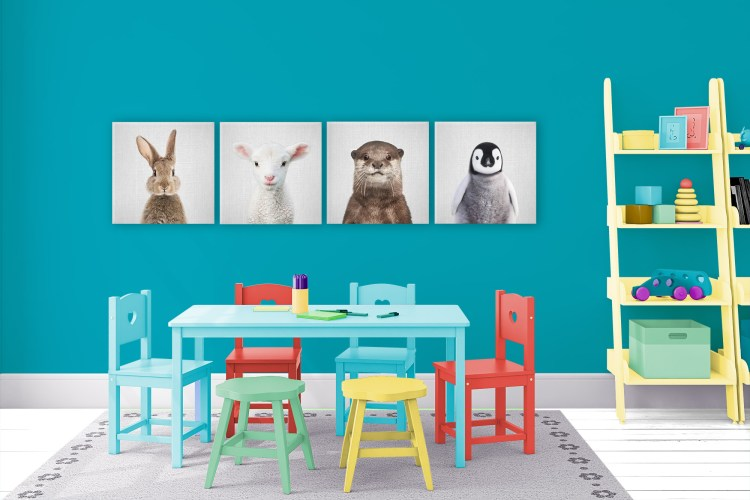 Coloro WGSN 2021 Color of the Year A.I. Aqua 098-59-30 and Accent Shades and Featured Artists Gal Design, Baby Animal Canvas Wall Art