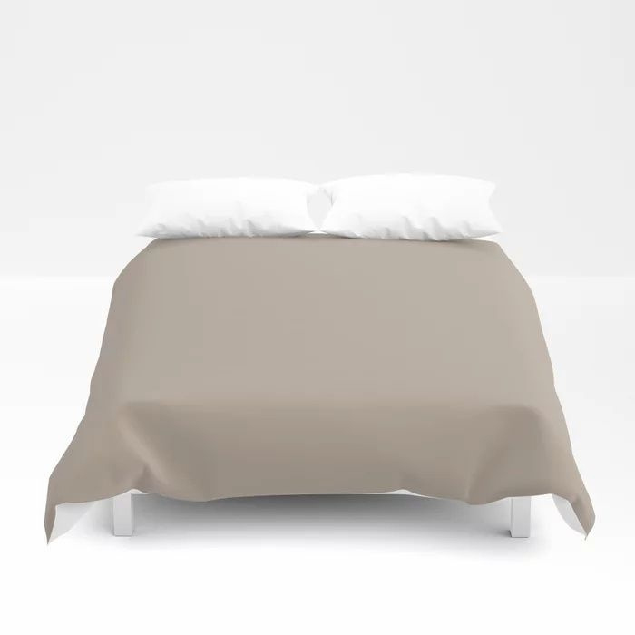 Comforting Brown Solid Color Pairs Farrow and Ball's 2021 Color of the Year Jitney 293 Duvet Cover