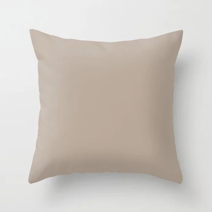 Comforting Brown Solid Color Pairs Farrow and Ball's 2021 Color of the Year Jitney 293 Throw Pillow