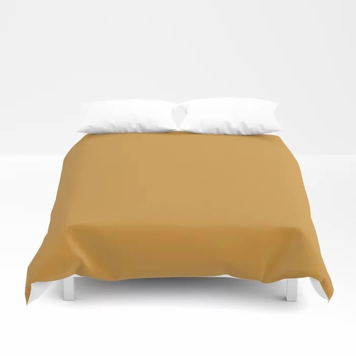 Cosy Deep Mustard Yellow Solid Color Pairs  Farrow and Balls 2021 Color of the Year India Yellow 66 Duvet Cover