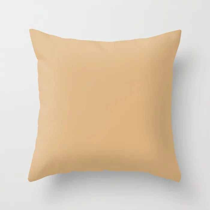 Crushed Almonds Solid Color Pairs To Behr's 2021 Trending Color Cellini Gold HDC-CL-18 Throw Pillow