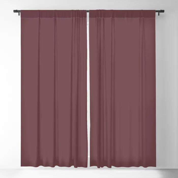 Dark Burgundy Red Solid Color Pairs 2021 Color of the Year Preference Red No.297 Blackout Curtain