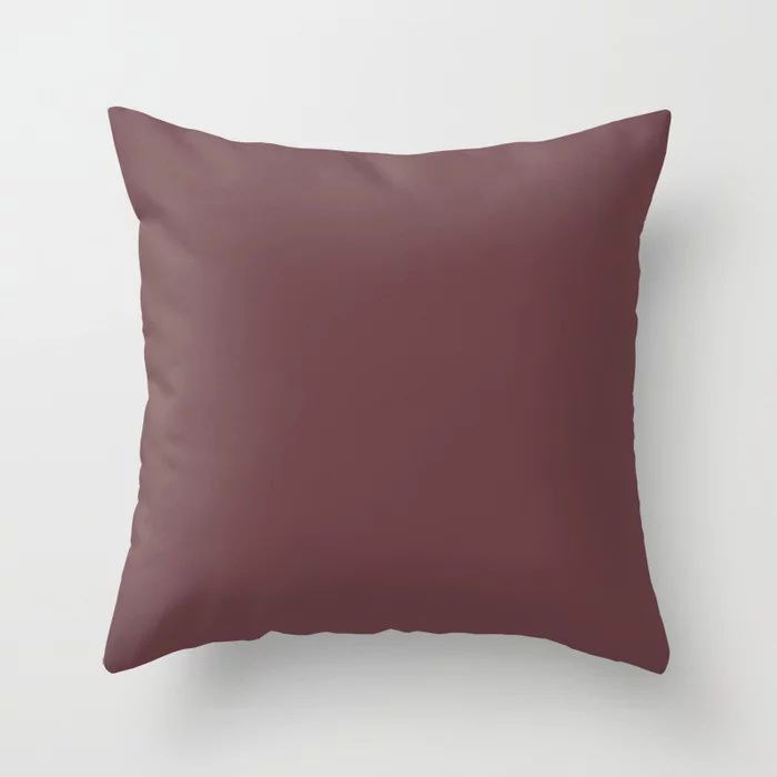 Dark Burgundy Red Solid Color Pairs 2021 Color of the Year Preference Red No.297 Throw Pillow
