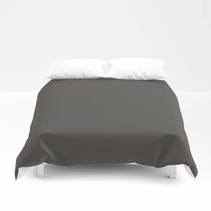 Dark Gray Brown Solid Color Pairs To Farrow and Ball Color of The Year Tanner's Brown No.255 Duvet Cover