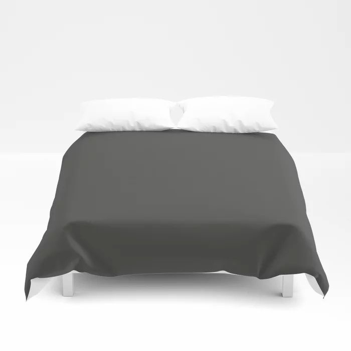Dark Grey Solid Color Behr's 2021 Trending Color Broadway PPU18-20 Duvet Cover