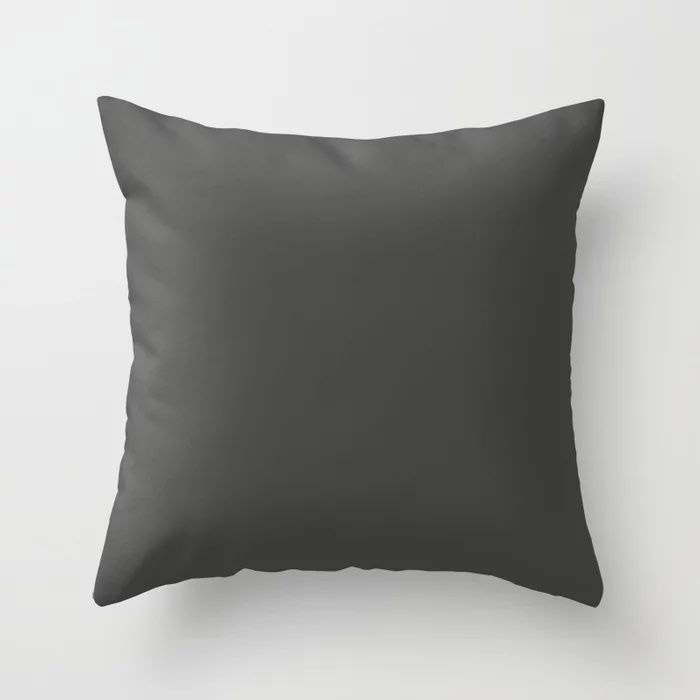 Dark Grey Solid Color Behr's 2021 Trending Color Broadway PPU18-20 Throw Pillow