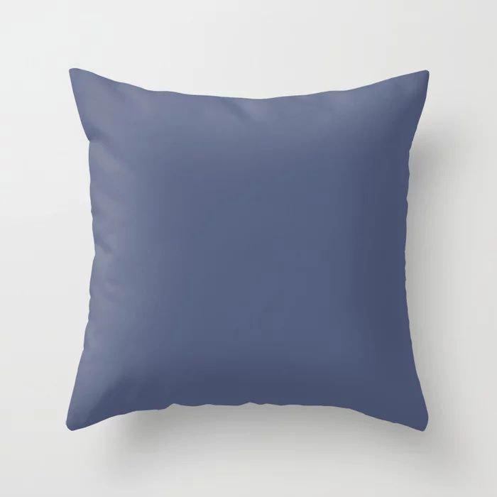 Dark Night Blue Solid Color Pairs Farrow and Ball 2021 Color of the Year Pitch Blue No.220 Throw Pillow