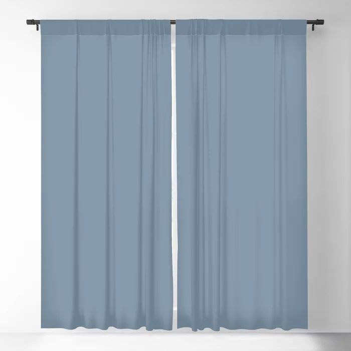 Dark Pastel Blue Solid Color Pairs To Behr's 2021 Trending Color Jean Jacket Blue S510-4 Blackout Curtain